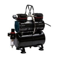 TC-90T Dual Piston Airbrush Compressor with Air Tank, Regulator and Moisture Trap
